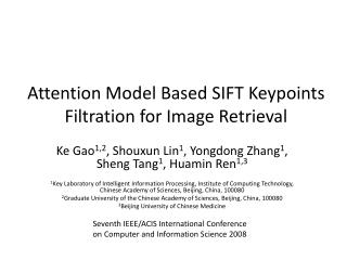 Attention Model Based SIFT  Keypoints  Filtration for Image Retrieval