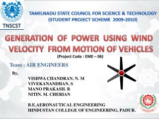 TAMILNADU STATE COUNCIL FOR SCIENCE & TECHNOLOGY (STUDENT PROJECT SCHEME  2009-2010)