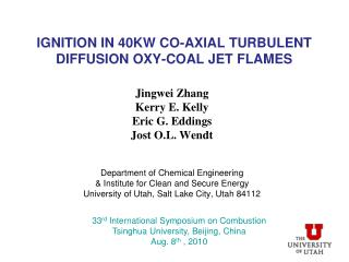 Ignition in 40kw co-axial turbulent diffusion oxy-coal jet flames