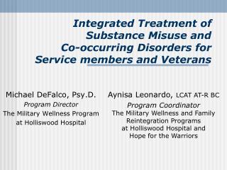 Michael DeFalco, Psy.D. Program Director The Military Wellness Program at Holliswood Hospital