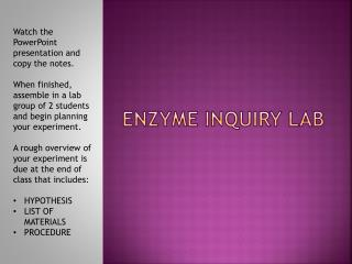 ENZYME INQUIRY LAB