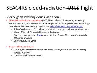 SEAC4RS cloud-radiation- UTLS  flight