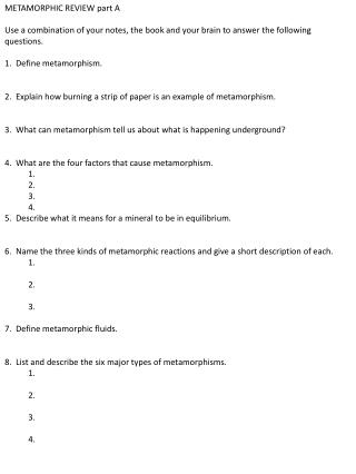 METAMORPHIC REVIEW part A