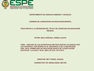 DEPARTAMENTO DE CIENCIAS HUMANAS Y SOCIALES CARRERA DE LICENCIATURA EN EDUCACIÓN INFANTIL