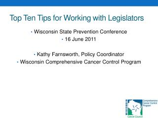 Top Ten Tips for Working with Legislators