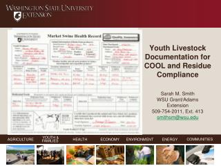 Youth Livestock Documentation for COOL and Residue Compliance