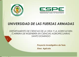 Proyecto Investigativo de Tesis Área   Agrícola