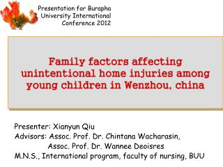 Family factors affecting  unintentional home injuries among  young children in Wenzhou, china