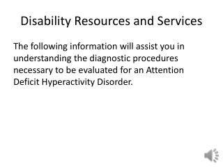 Disability Resources and Services