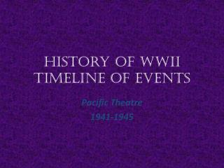History of WWII Timeline of Events