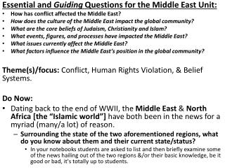 Essential and  Guiding  Questions for the Middle East Unit: