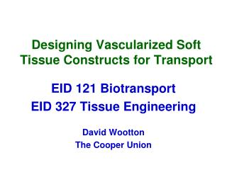 Designing  Vascularized  Soft Tissue Constructs for Transport