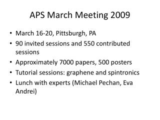 APS March Meeting 2009