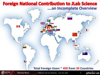 Foreign National Contribution to  JLab  Science