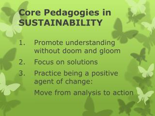 Core Pedagogies in SUSTAINABILITY
