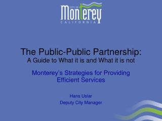 The Public-Public Partnership: A Guide to What it is and What it is not
