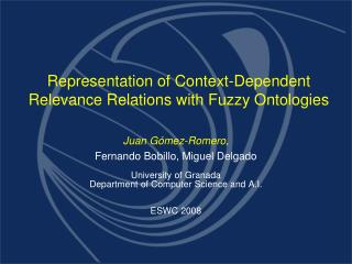 Representation of Context-Dependent Relevance Relations with Fuzzy Ontologies