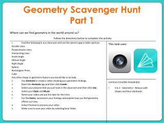 Geometry Scavenger Hunt  Part 1