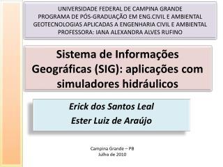 Sistema de Informações Geográficas (SIG): aplicações com simuladores hidráulicos