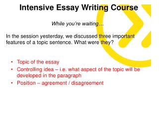 Intensive Essay Writing Course