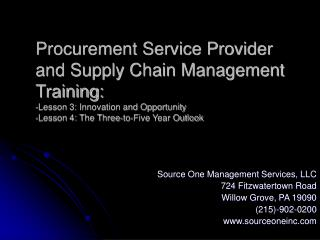 Procurement Service Provider and Supply Chain Management ...