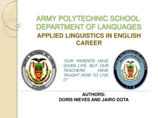 ARMY POLYTECHNIC SCHOOL  DEPARTMENT OF LANGUAGES