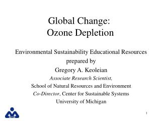Global Change: Ozone Depletion