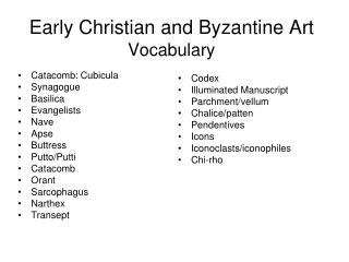 Early Christian and Byzantine Art Vocabulary