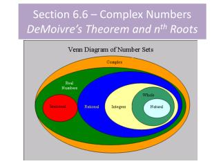 Section 6.6 – Complex Numbers DeMoivre's  Theorem and n th  Roots