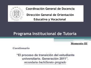 Programa Institucional de Tutoría