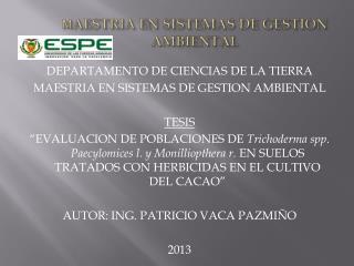 M AESTRIA EN SISTEMAS DE GESTION AMBIENTAL