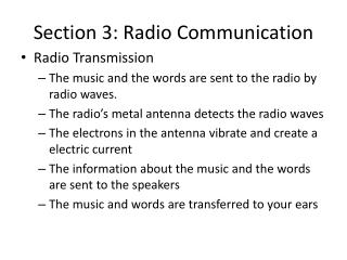Section 3: Radio Communication