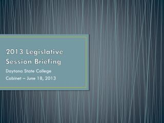 2013 Legislative Session Briefing