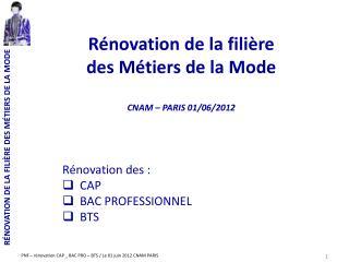 Rénovation de la filière  des Métiers de la Mode CNAM – PARIS 01/06/2012