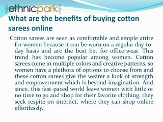 What are the benefits of buying cotton sarees online