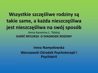 Irena Namysłowska Warszawski Ośrodek Psychoterapii i Psychiatrii