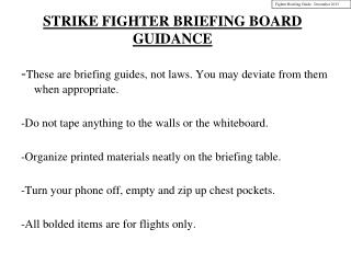 STRIKE FIGHTER  BRIEFING BOARD GUIDANCE