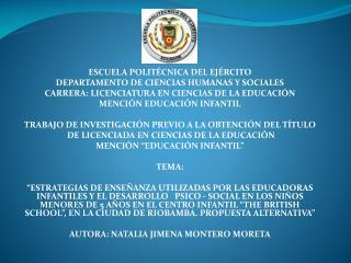 ESCUELA POLITÉCNICA DEL EJÉRCITO DEPARTAMENTO DE CIENCIAS HUMANAS Y SOCIALES