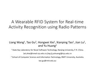A Wearable RFID System for Real-time Activity Recognition using Radio Patterns