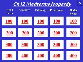 Ch12  Medterms Jeopardy