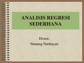 ANALISIS REGRESI SEDERHANA