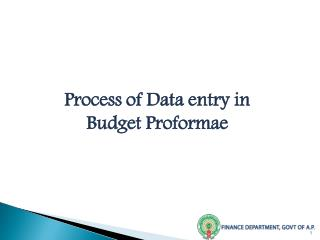 Process of Data entry in Budget Proformae