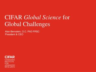 CIFAR  Global Science  for Global Challenges