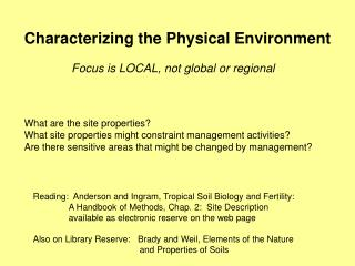 Characterizing the Physical Environment