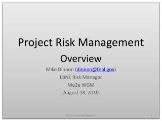 Project Risk Management Overview Mike  Dinnon  ( dinnon@fnal.gov ) LBNE Risk Manager Mu2e WGM