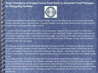 Sbga Volunteers at Orange County Food Bank to Assemble Food