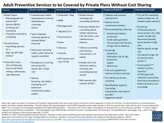 Adult Preventive Services to be Covered by Private Plans Without Cost Sharing