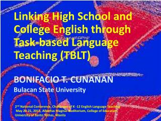 Linking High School and College English  through  Task-based Language Teaching (TBLT)