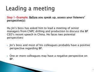 L eading a meeting