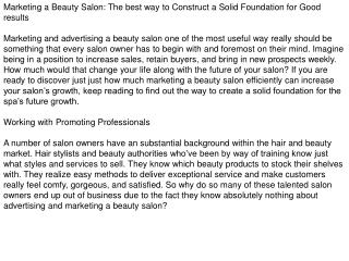 Marketing a Beauty Salon